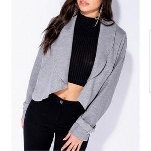 Jackets & Blazers - Gray Waterfall Front Jacket
